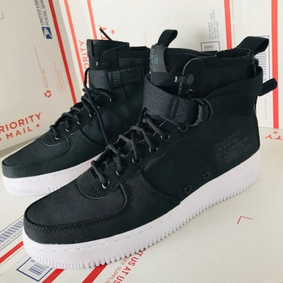 new product 451d9 a5453 Nike Mens Air Force SF 1 Mid Black 917753-006 Sz 9
